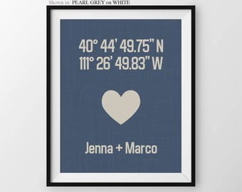 Housewarming Gift For Couple, Anniversary print, Custom Latitude Longitude Print, Couples Gift, Custom Housewarming Decor, Modern Wall Decor