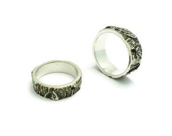 Silver Bark Ring, Men, Oak, Wood, Jewelry for men and women, Engagement rings, Men wedding band, Nature ring, Rustic