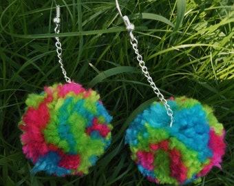 Pink, Blue & Green Multi-Coloured Pom Pom Drop Earrings