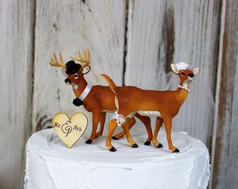 Deer Wedding Cake Topper, Animal Cake Topper, Buck and Doe Cake Topper, Hunting Cake Topper, Wedding Cake, Wedding Decor,