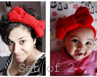 Mom and Baby Red Christmas Bow Headbands, Crochet Adult and Baby Headband Set, Infant Red Headband (Choose Baby Size) Baby Gift Baby Gift