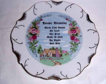 """Vintage Collectors Plate """"House Blessing"""" - 18K gold trim - Pink Roses - Charming Country Cottage Ready for Hanging on Wall"""