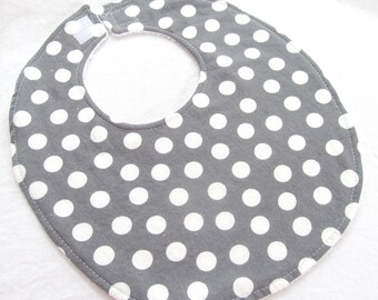 Modern Essentials Boutique Bib for Baby or Toddler Boy or Girl - Charcoal Gray and White Dot - Cotton Bib