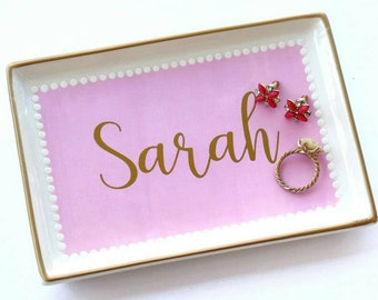 Personalized Hand-Painted Pink White Jewelry Tray / Gold Jewelry Dish / Porcelain Trinket Dish / Catchall / Gifts For Her  / Graduation Gift