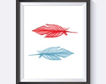Water Color Feathers Digital Print Wall Art
