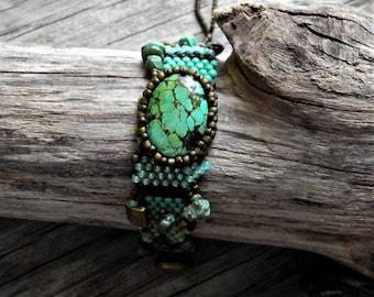 Bijoux - Bracelet - tissage - Bleu Turquoise - BOHO en perles tissage Peyote sous forme libre