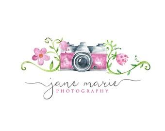 Photography Logo Design, Vintage Camera Logo, Flower Logo, Small Business Logo, Photographer watermark n081