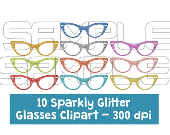Digital Glitter Glasses Clipart, Sparkly Glittery Glasses, Colorful Glasses clipart