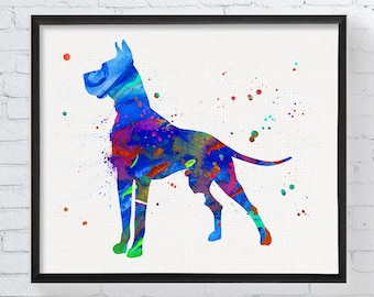 Great Dane Print - Great Dane Watercolor - Great Dane Art - Great Dane Wall Decor - Great Dane Gifts - Dog Poster, Dog Painting, Gift Idea