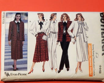 Butterick 4313 Evan-Picone designed jacket, blouse, skirt and pants pattern Uncut Sizes 6, 8 and 10