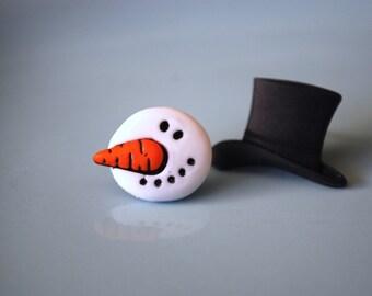 Snowman Earrings -- Snowman Studs, White Snowmen Earrings