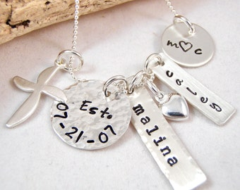 Mommy necklace - Personalized necklace - Family Necklace - Mom Necklace - Mother's Day Gift - Cross necklace