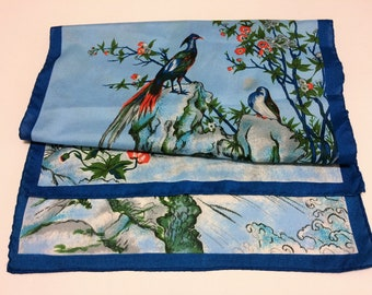 """15"""" x 44"""" Flying Fancy Birds Blue Hand Rolled Sewn Edges Flowers Waterfall Scarf / Table Runner"""