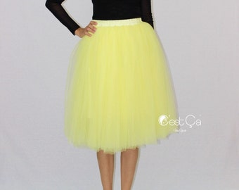 Colette - Lemon Yellow Tulle Skirt, Soft Tulle Skirt, Tea Length Tulle Skirt, Adult Tutu, Plus Size Tulle Skirt