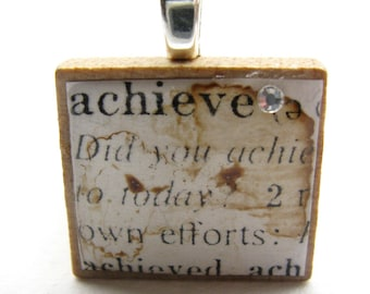 Achieve 1 - vintage dictionary Scrabble tile with Swarovski crystal