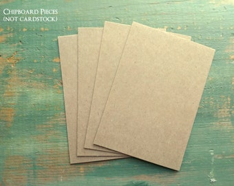 """100 4 x 6"""" Chipboard Pieces, 22pt (0.022"""") 100% Recycled, 4 x 6"""" (102 x 152mm) Chip board, Cereal Box Thickness, Kraft Brown or White"""