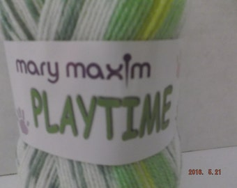 Mary Maxim Baby Playtime Yarn ~ Colour: Playground (variegated) ~ 100 grams/ 3.5 oz Ball ~ 328 Yards/300 meters ~ #3 Light