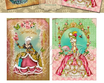 Marie Antoinette let them eat cake  Digital Collage Sheet  Printable instant download  Victorian scrapbooking digital background invitations