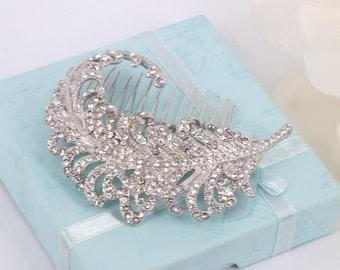 Feather - Rhinestone Vintage Style Bridal Hair Comb