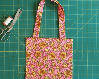 Flower Power Print Fat Quarter Tote Bag, Fabric Gift Bag, Small Cotton Tote