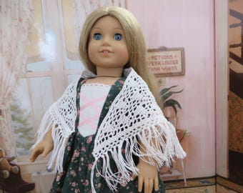 18 Inch Doll Clothes - Crocheted Shawl (White)