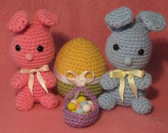 Tiny Bunnies with Tiny Basket And Easter Egg