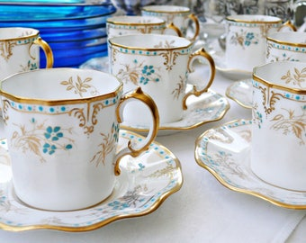 """Fabulous Frills ~ Royal Crown Derby """"Normandie"""" Bone China Demitasse Cup and Saucer, Wavy White & Gold Set with Raised Turquoise Dots"""