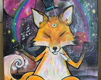 Foxy   Original Painting   Boxed Canvas