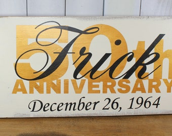 Anniversay Sign/50th Sign/Anniversary/Romantic Sign/Black/Ivory/Gold/Personalized/Party Sign/Event Sign/Wood Sign/Hand Painted
