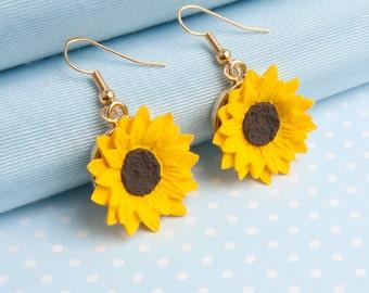 Sunflower Dropper Earrings