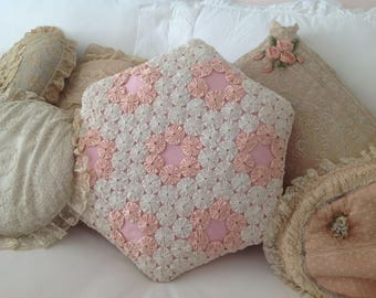 sweet shabby chic vintage quilted pink and white yo-yo pillow