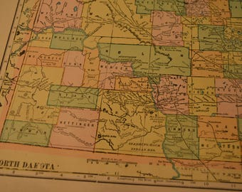 1904 State Map North Dakota - Vintage Antique Map Great for Framing 100 Years Old