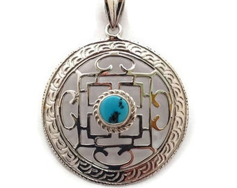 Handmade Tibetan Buddhist Mandala Silver Pendant - (152-JP007)