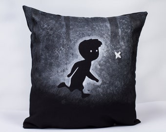 Limbo game inspired - hand-painted throw pillow , 14x14 in