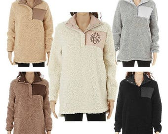 IN STOCK Monogram Sherpa Pullover Jacket, Monogram Sherpa Fleece Pullover, Monogram Fur Pullover, Sherpa Fleece Pullover