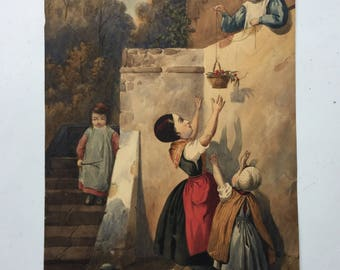 Antique french water color 1800s. Children and sherry basket.
