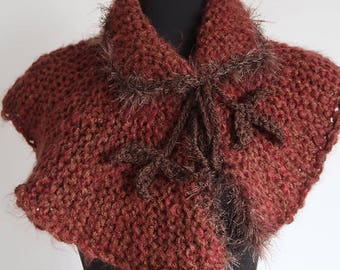 Outlander Inspired Amber Brown Sienna Color Chunky Knitted Capelet Cape Collar Faux Fir Trim Cowl Gaiter with Crochet Leaf Cord Ties