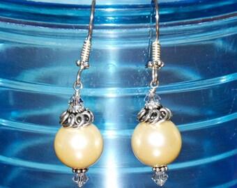Handmade Bali Sterling Silver 12mm Gold Shell Pearl Drop Earrings
