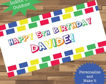 """18""""x30"""" Colorful Primary Colors Building Blocks Personalized Birthday Party Banner   1st Birthday   Custom Party Banner"""