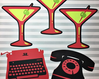 Vintage Cutouts - Mad Men Party - Retro House Wife Bridal Shower - 1960s - Mad Men Style - Retro Cut Outs - Bridal Shower Decorations