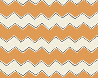 By The HALF YARD - Playground by Vita Mechachonis for Camelot, Pattern #1140604-01 Zig Zags Orange, Cream and Black Chevron