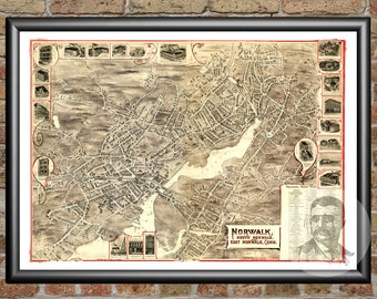 Norwalk, Connecticut Art Print From 1899 - Digitally Restored Old Norwalk, CT Map Poster  - Perfect For Fans Of Connecticut History