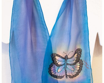 "Butterfly Silk Scarf. Painted silk scarf. 8x52"". Silk scarf handpainted. Hand painted silk scarf. Blue silk scarf. Handpainted silk scarf"