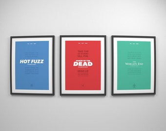 Cornetto Trilogy ~ Quote Prints, Typography Print, Movie Posters, Art Print, Gifts for Him, Gifts, Shaun of the Dead, Hot Fuzz, Worlds End