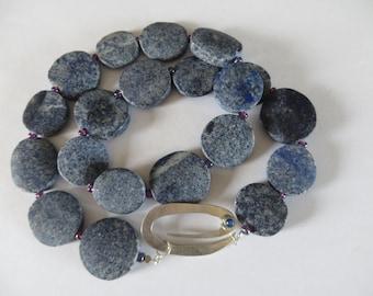 Unique rough lapis necklace with striking removable paperclip conclusion - statement necklace - falls nicely - lapis lazuli necklace -