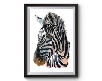 Zebra print zebra painting zebra decor nursery decor watercolor animal art zebra art wildlife painting zebra wall art Zebra Artwork