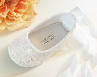 Toddler Girl Shoes Baby Girl Shoes Couture Baby Shoes Ivory Flower Girl Shoes Lace Couture Ballet Slipper Flower Girl Ballet Flat- Callie