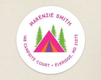 Pink Camping Address Labels / Glamping Address Labels - Sheet of 24