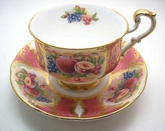 Pink Paragon Tea Cup and Saucer,  Pink with fruits  tea cup and saucer set,  English Bone China.