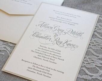 Ivory Wedding Invitations, Gold Formal Wedding Ceremony Invitations, Simple Wedding Invitations, Luxury Invitations | Allison & Chandler